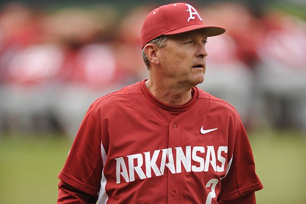 Arkansas coach Dave Van Horn walks back to the dugout against Gonzaga Wednesday, March 9, 2016, before the start of the game at Baum Stadium in Fayetteville.