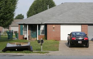 The duplex 1128 B Connor Street in Springdale was one of the Northwest Arkansas residences searched by Homeland Security officials on Thursday.