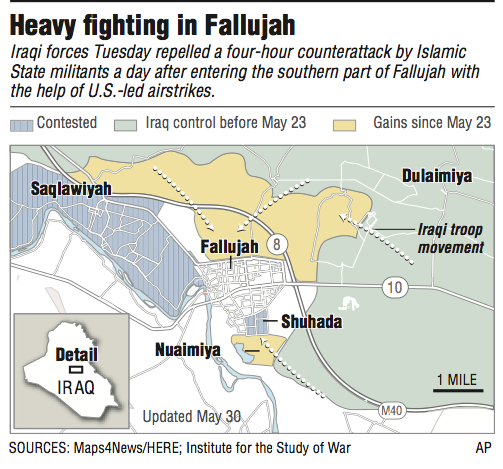 a map showing the location of fallujah an iraqi counterterrorism