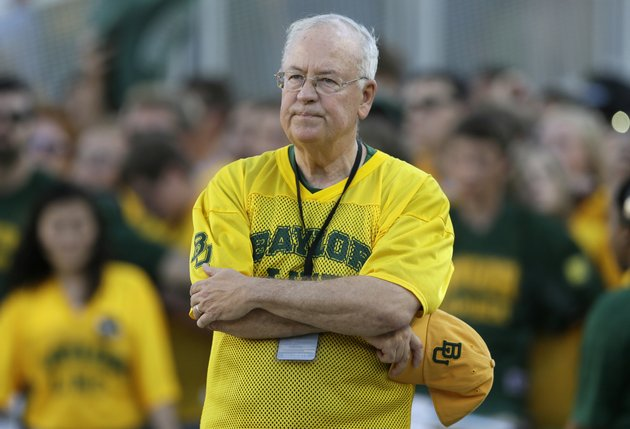 file-in-the-sept-12-2015-file-photo-ken-starr-waits-to-run-onto-the-field-before-an-ncaa-college-football-game-in-waco-texas-ap-photolm-otero-file