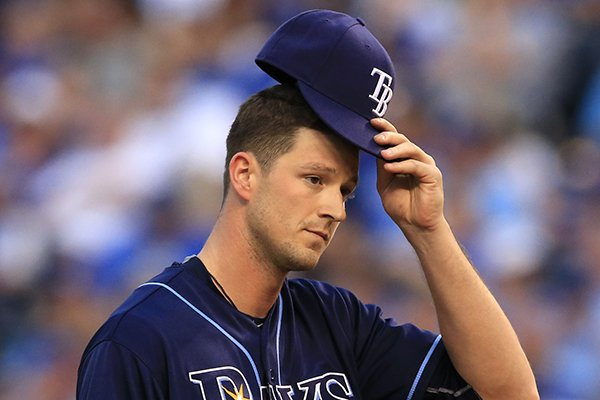 Tampa Bay Rays starting pitcher Drew Smyly during a baseball game against the Kansas City Royals at Kauffman Stadium in Kansas City, Mo., Tuesday, May 31, 2016. (AP Photo/Orlin Wagner)