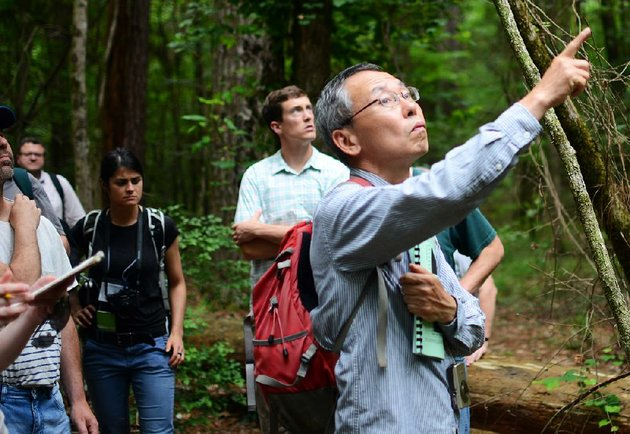 hiromi-mizunaga-a-forestry-scientist-from-shizuoka-university-in-japan-points-to-an-opening-amid-the-trees-wednesday-during-a-tour-of-the-us-forest-services-experimental-forest-in-crossett