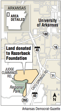 A map showing land donated to the Razorback Foundation.