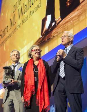 Jim Walton (from left), Alice Walton and Rob Walton are shown in this file photo.