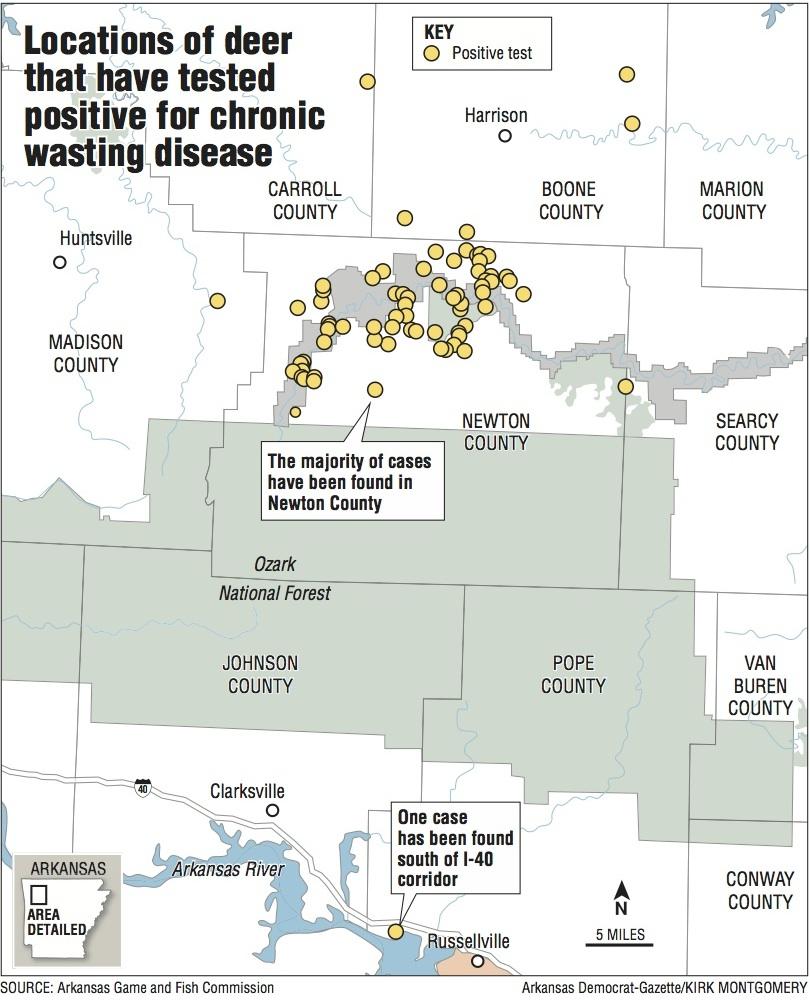 Boone County Arkansas Map.Chronic Wasting Disease In Arkansas