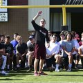 Blake Anderson, Arkansas State football coach, talks Tuesday to football players during a one-day ca...