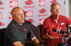 NWA Democrat-Gazette/ANDY SHUPE Newly hired pitching coach Wes Johnson (left) speaks alongside Arkansas coach Dave Van Horn Thursday, June 16, 2016, during a press conference to announce his hire at Baum Stadium in Fayetteville. A native of Sherwood, Johnson comes to Arkansas after a year at Mississippi State.