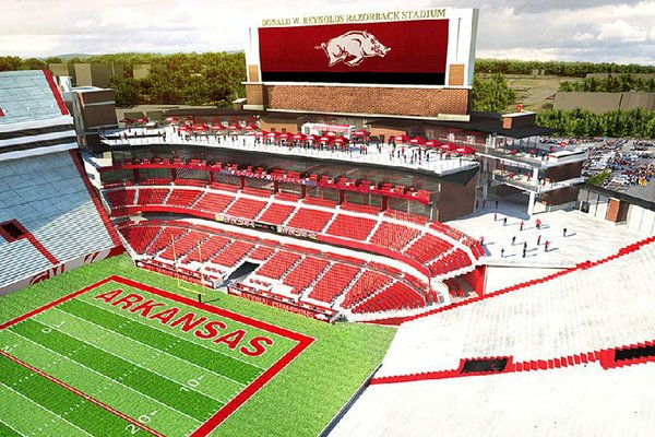A $160 million construction project for Donald W. Reynolds Razorback Stadium, shown in this artist rendering of the expansion, was approved Thursday by the University of Arkansas System board.