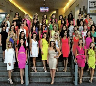The Sentinel-Record/Max Bryan CONTESTANTS ARRIVE: The 2016 Miss Arkansas Scholarship Pageant contestants gather for a photograph with Miss Arkansas 2015 Loren McDaniel on the main staircase of the Grand Lobby of the Hot Springs Convention Center Sunday afternoon.