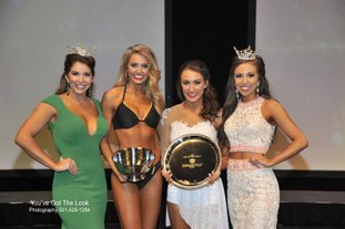 Miss University of Central Arkansas Ashton Purtle won the Preliminary Artistic Expression in Talent Award and Miss Arkansas State University Bailey Moses won the Lifestyle and Fitness in Swimsuit Preliminary Award on Wednesday, the opening night of the 79th Annual Miss Arkansas Pageant at Bank of the Ozarks Arena. From left are Miss Arkansas 2015 Loren McDaniel, Moses, Purtle and Miss Arkansas Outstanding Teen 2016 Emily Brewer. Photography is courtesy of the Miss Arkansas Scholarship Pageant and You've Got The Look Photography.