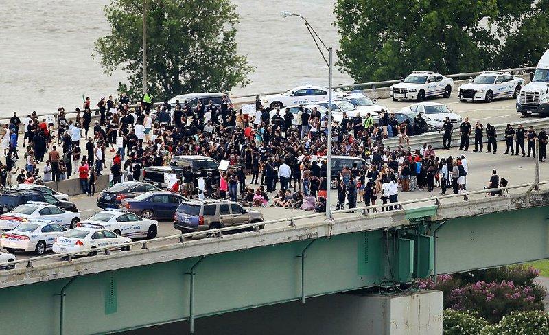 Black Lives Matter protesters block I-40 bridge