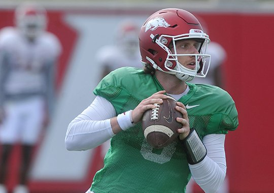 NWA Democrat-Gazette/Michael Woods STEPPING UP: Austin Allen, here pictured during spring practice at the University of Arkansas, replaces graduated brother Brandon as the Razorbacks' starting quarterback. Arkansas opens the season Sept. 3 against Louisiana Tech at Reynolds Razorback Stadium in Fayetteville.