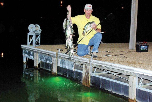 Under the summer stars catching crappie during nighttime for Crappie fishing at night
