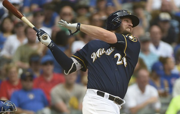 Milwaukee Brewers' Andy Wilkins bats during the seventh inning of a baseball game against the Chicago Cubs Sunday, July 24, 2016, in Milwaukee. (AP Photo/Benny Sieu)