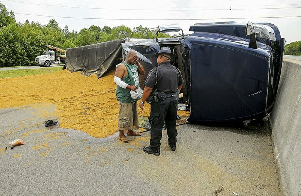 Truck Driver Salary >> 3 crashes stymie I-40 west traffic; big rig spills load, then 2 wrecks occur in stalled-car queue