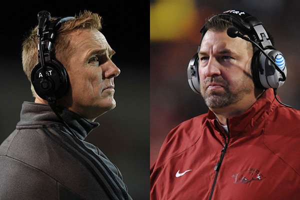 Arkansas State coach Blake Anderson, left, and Arkansas coach Bret Bielema are shown during these 2014 file photos.