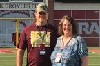 Arkansas offensive tackle Dalton Wagner and his mother, Nancy pose during a recruiting visit to Fayetteville. 