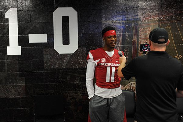 arkansas-sophomore-defensive-back-britto-tutt-answers-questions-from-members-of-the-news-media-sunday-aug-7-2016-during-the-teams-annual-media-day-activities-in-the-fred-w-smith-football-center-on-the-university-campus-in-fayetteville