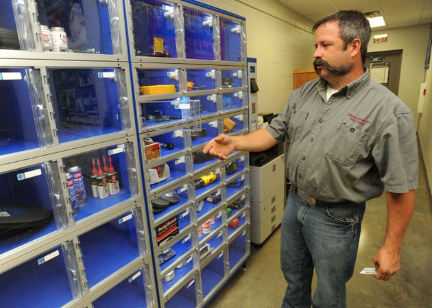 mike-rogers-agriculture-teacher-at-siloam-springs-high-school-talks-friday-about-the-equipment-checkout-system-used-for-students-at-the-career-academy-at-siloam-springs-high-school-the-system-allows-for-easy-restocking-of-supplies-and-works-in-a-similar-way-to-systems-used-by-local-employers