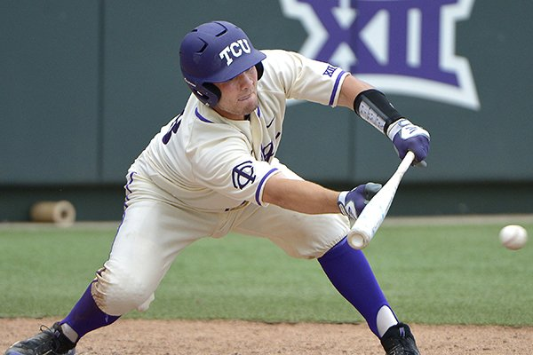 TCU catcher Zack Plunkett (38) tries to bunt during the fifth inning as TCU beat Kansas State 9-3 in Big 12 baseball at Lupton Stadium in Fort Worth, Texas, Saturday, May 21, 2016.