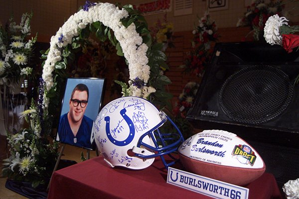 A commemorative display was set up by the Indianapolis Colts at the funeral of Brandon Burlsworth in Harrison on Saturday, May 1, 1999.