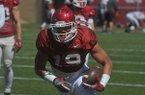 Arkansas tight end Anthony Antwine goes through drills Saturday, April 9, 2016, at Razorback Stadium in Fayetteville.