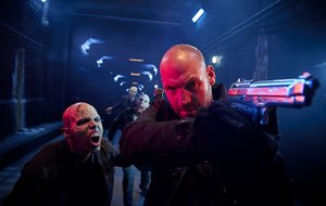 Look out! A trio of infected strigoi close in on Ephraim Goodweather (Corey Stoll) in The Strain. The thriller returns at 9 p.m. today on FX.