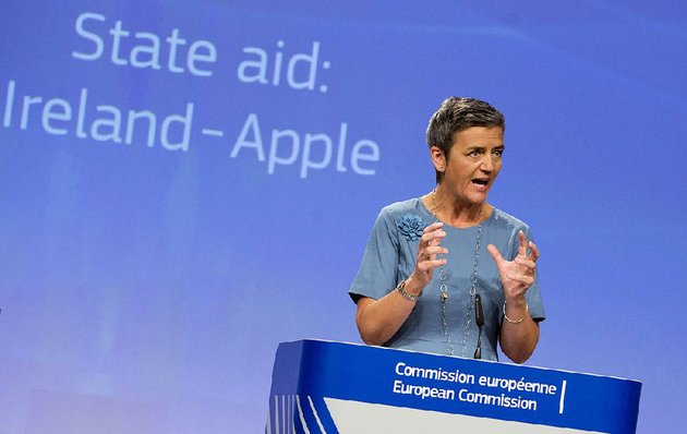 european-union-competition-commissioner-margrethe-vestager-speaking-tuesday-at-a-news-conference-at-eu-headquarters-in-brussels-said-ireland-granted-special-tax-breaks-to-apple-inc-in-exchange-for-basing-eu-operations-there-member-states-cannot-give-tax-benefits-to-selected-companies-this-is-illegal-under-eu-state-aid-rules-vestager-said