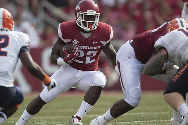 Arkansas running back Rawleigh Williams carries the ball during a game against UTEP on Saturday, Sept. 5, 2015, at Razorback Stadium in Fayetteville.
