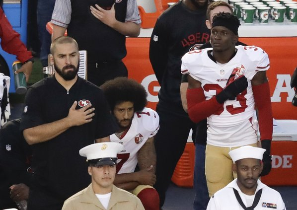 Colin Kaepernick Kneels During The National Anthem Last Night