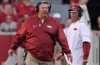Arkansas coach Bret Bielema yells during a game against Louisiana Tech on Saturday, Sept. 3, 2016, at Razorback Stadium in Fayetteville.
