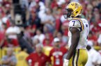 LSU's Leonard Fournette looks to the sideline during an NCAA college football game against Wisconsin Saturday, Sept. 3, 2016 in Green Bay, Wis. (AP Photo/Aaron Gash)