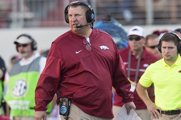 Arkansas coach Bret Bielema walks the sideline during a game against Louisiana Tech on Saturday, Sept. 3, 2016, in Fayetteville.