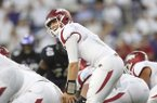Arkansas quarterback Austin Allen prepares to take a snap during a game against TCU on Saturday, Sept. 10, 2016, in Fort Worth, Texas.