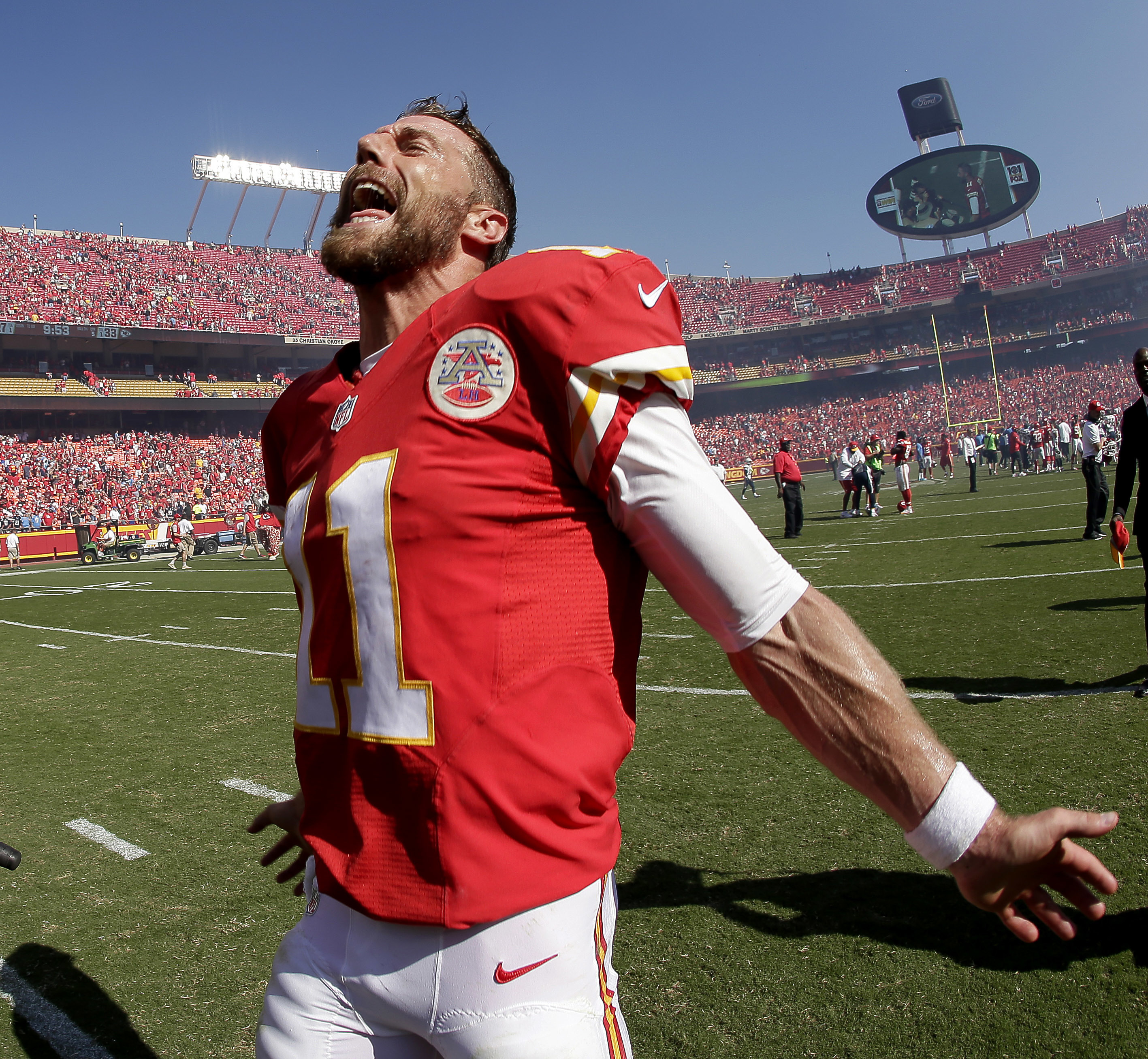 Kansas City Chiefs Quarterback Alex Smith Celebrates After