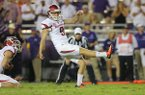 Arkansas kicker Cole Hedlund misses a field goal during a game against TCU on Saturday, Sept. 10, 2016, in Fort Worth, Texas.