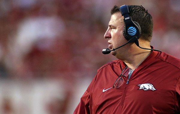 Arkansas' Bret Bielema walks the sidelines during the first quarter of an NCAA college football game against Texas State Saturday, Sept. 17, 2016 in Fayetteville, Ark. (AP Photo/Samantha Baker)