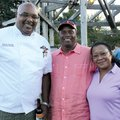 Chef Steven Brooks (from left) talks with Mack and Diane Epps at Chefs in the Garden.