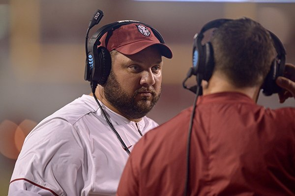 Arkansas offensive line coach Kurt Anderson watches from the sideline during a game against Texas State on Saturday, Sept. 17, 2016, in Fayetteville.