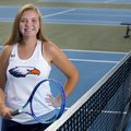 Rogers Heritage freshman Sophie Cooper stands on the tennis court Sept. 15 at Rogers Heritage