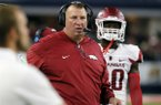 Arkansas coach Bret Bielema watches from the sideline during the first half of the team's NCAA college football game against Texas A&M, Saturday, Sept. 24, 2016, in Arlington, Texas. (AP Photo/Tony Gutierrez)