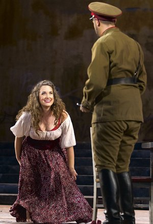 """Sarah Mesko performs in """"Carmen"""" at the Washington National Opera in 2015. On Thursday, she'll return to her alma mater for a concert in the Honors Student Lounge in Gearhart Hall."""