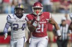Arkansas running back Devwah Whaley runs for a 75-yard touchdown during a game against Alcorn State on Saturday, Oct. 1, 2016, at War Memorial Stadium in Little Rock.