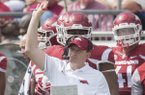 Arkansas defensive coordinator Robb Smith during the Razorbacks' game against Alcorn State on Saturday, Oct. 1, 2016, at War Memorial Stadium in Little Rock.