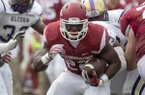 Arkansas sophomore running back Rawleigh Williams carries against Alcorn State on Saturday, Oct. 1, 2016, during the third quarter at War Memorial Stadium in Little Rock.