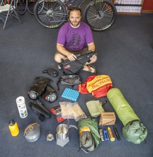 It all gets packed. Phillip Scalfano spreads out his bikepacking gear at Community Bicyclist in Little Rock.