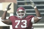 Arkansas offensive lineman Shawn Andrews reacts to a play during a game against Ole Miss on Saturday, Oct. 26, 2002, in Fayetteville.