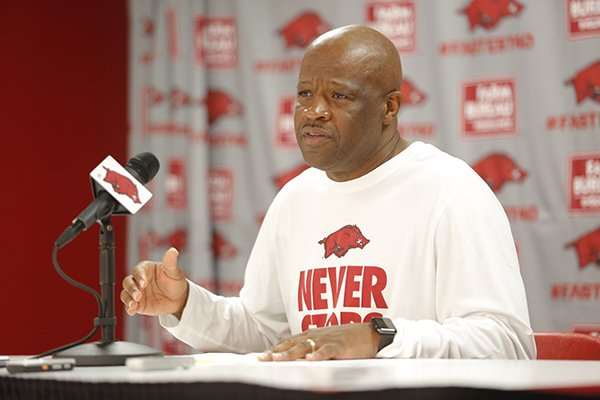 Arkansas coach Mike Anderson speaks to the media during the Razorbacks' annual media day on Wednesday, Oct. 5, 2016, at Bud Walton Arena in Fayetteville.