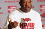 NWA Democrat-Gazette/ANDY SHUPE Arkansas coach Mike Anderson speaks Wednesday, Oct. 5, 2016, during Media Day in Bud Walton Arena. Visit nwadg.com/photos to see more photos from Media Day and practice.