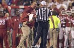 Arkansas coach Bret Bielema yells at referee Matt Loeffler during a game against Alabama on Saturday, Oct. 8, 2016, in Fayetteville.